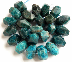 Apatite Natural  -  Machine Cut Center Drilled Nuggets w Spacer  15""