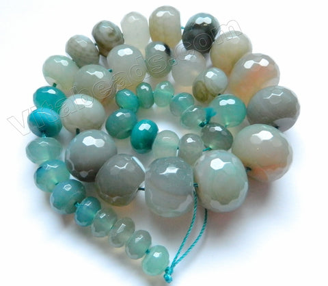 Light Amazonite Blue Agate  - 6x10mm to 15x20mm Graduated Faceted Drum, Faceted Rondel  16""