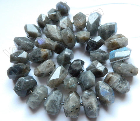 Labradorite A  -  Graduated Machine Cut Rondel Tumble w/ Spacer 16""