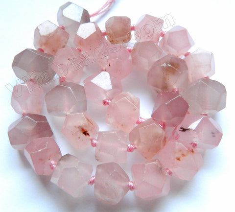 Sesame Rose Pink Jade w/ Spot  -  Machine Cut Center Drilled Nuggets 16""