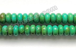 Dark Blue Green Turquoise  -  Smooth Rondells  16""