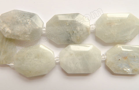 Grey Moonstone Natural  - Faceted Flat Octagon w/ Spacer  16""