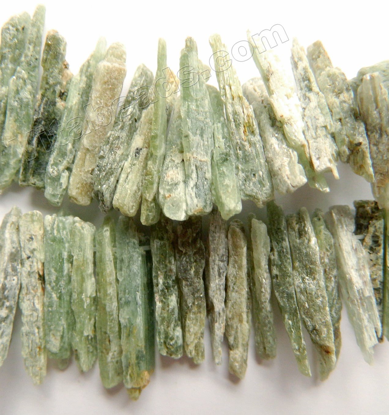 Rough Light Green Kyanite Natural AA  -  Graduated Top Drilled Rough Sticks 16""