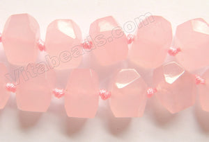 Light Rose Pink Jade  -  Machine Cut Center Drilled Nuggets 16""
