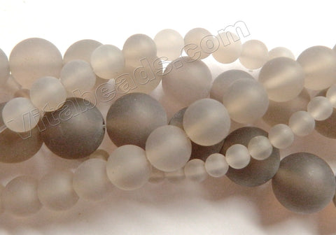 Matte Grey Agate  -  Smooth Round Beads  16""