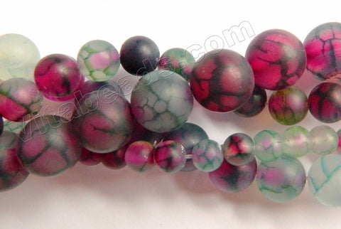 Frosted Purple Green Fire Agate  -  Smooth Round Beads  15""