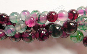 Mixed Purple Green Fire Agate  -  Smooth Round Beads  15""