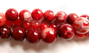 Dark Coral Red Ceramic Agate  -  Smooth Round Beads  15""