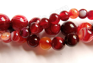 Mixed Dark Red Sardonix Agate  -  Smooth Round Beads  15""