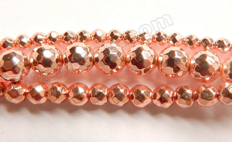 Bight Rose Gold Hematite A  -  Faceted Round 15""