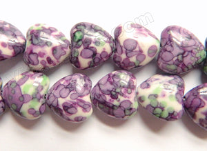 Purple Green Lilac Magnesite  -  Puff Heart Beads  16""