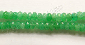 Bright Green Jade A  -  Small Faceted Rondells  15""