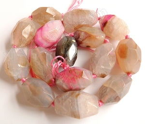 Light Mixed Pink Peach Grey Fire Agate  -  Machine Cut Rice  16""