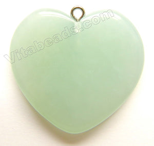 Ophiolite Chalcedony, Peruvian Natural - Smooth Heart Pendant
