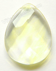 Faceted Teardrop Pendant - Pineapple Quartz - Clear