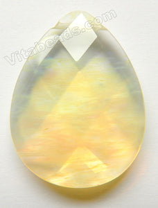Faceted Teardrop Pendant - Pineapple Quartz