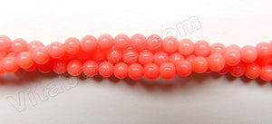 Peach Coral  -  Small Smooth Round Beads  16""