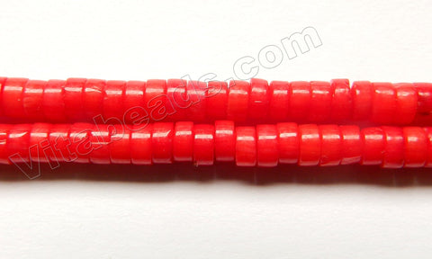Red Bamboo Coral  -  Small Heishi Beads  16""