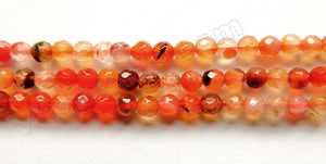 Natural Carnelian W/ Black  -  Small Faceted Round 15.5""