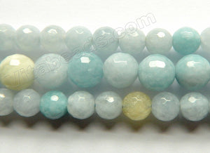 Multi Colored Aquamarine HK (Natural) AAA  -  Faceted Round 15""