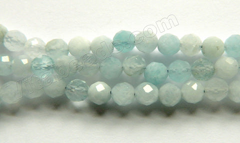 Natural Aquamarine AAA  -  68-Cut Faceted Round 15""