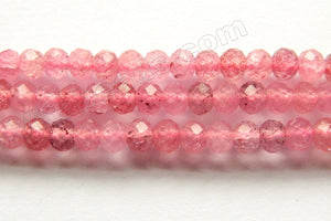 Natural Ruby Quartz A  -  Small Faceted Rondell  15.5""
