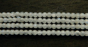 Rainbow Moonstone Natural  -  Small Smooth Round Beads  15""