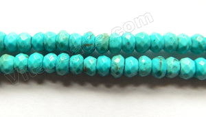 Blue Chinese Turquoise Natural AA  -  Small Faceted Rondel  15""