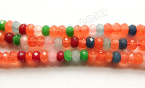 Mixed Orange Blue Jade  -  Small Faceted Rondel  14""