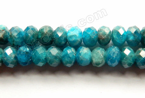 Deep Blue Apatite Natural AAA  -  Faceted Rondel  15""