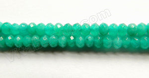 Deep Russian Amazonite Jade  -  Small Faceted Rondells  14""