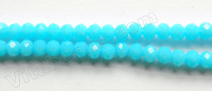 Deep Aqua Chalcedony Quartz  -  Small Faceted Rondel  15""