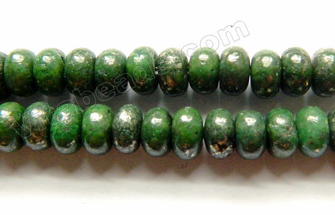 Green Pyrite A  -  Smooth Rondels  16""