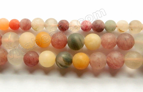 Matte Mixed Rutilated Quartz Natural A  -  Smooth Round Beads  15""