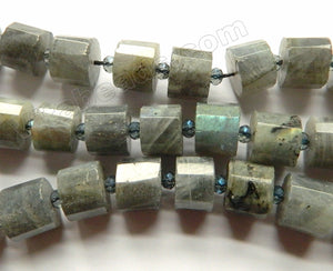 Labradorite AA  -  Faceted Cylinder w/ Spacers 15""