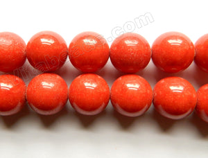 Sardines Coral Red Mashan Jade Solid  -  Big Round Beads  16""