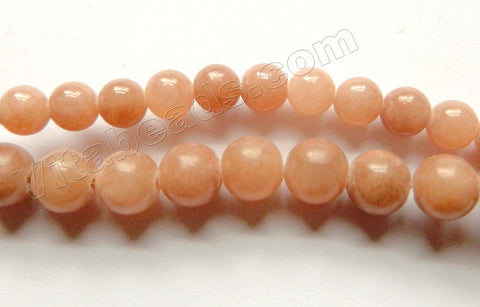 Light Brown Mashan Jade -  Smooth Round Beads  16""