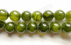 Dark Olive Semi Transparent Jade  -  Smooth Round Beads  16""