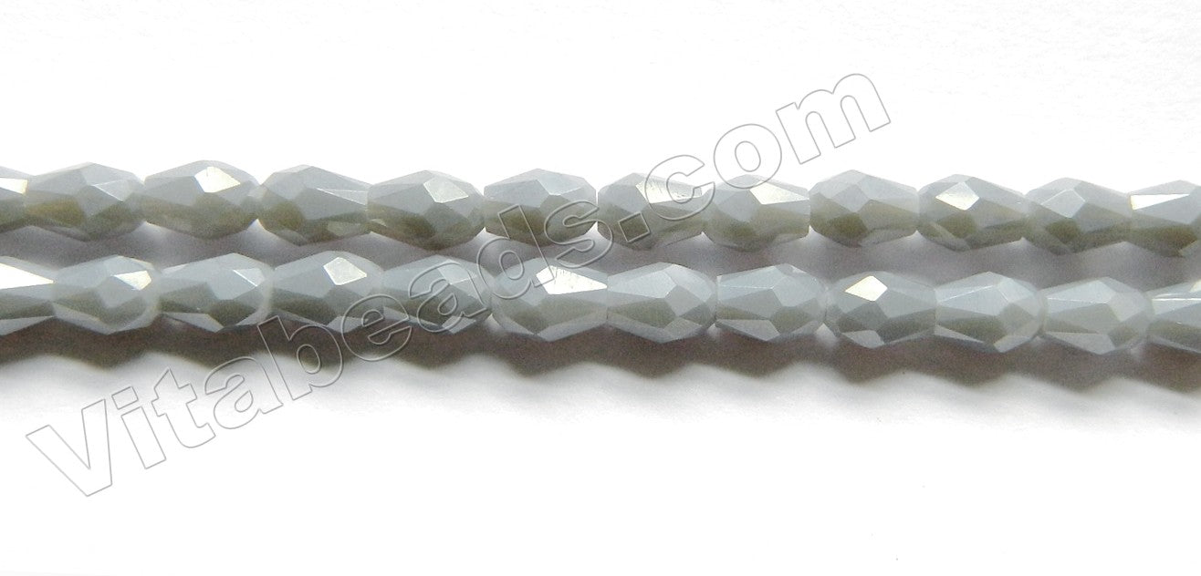 Grey Chalcedony Quartz  -  Small Faceted Drops 18""
