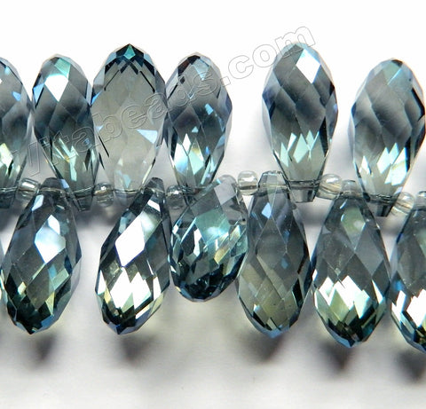 Mystic London Blue Crystal  -  Big Faceted Long Teardrops  6""