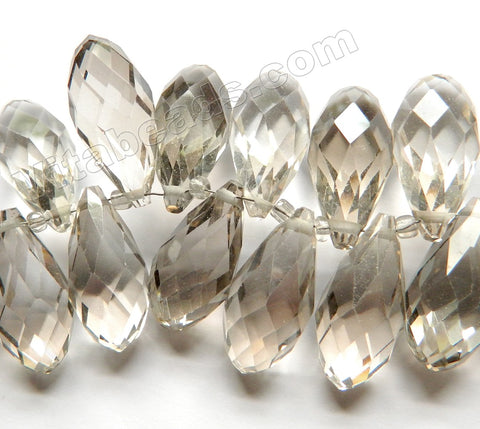 Light Smoky Crystal Quartz  -  Big Faceted Long Teardrops  6""