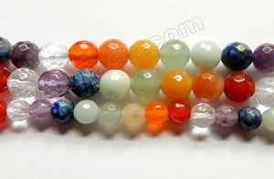 Chakras Gemstone Natural A  -   Faceted Round  15""