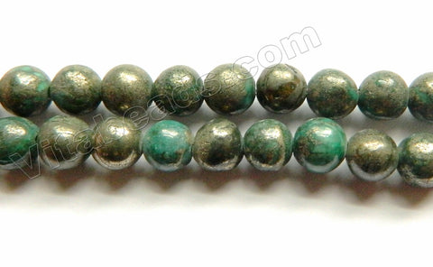 Natural Pyrite B w/ Green  -  Smooth Round  15.5""