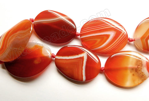 Carnelian w/ Stripes  -  Twisted Flat Ovals w/ Knots 16""