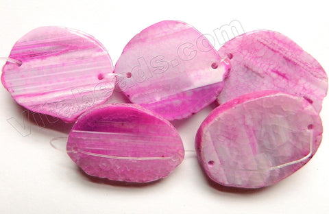 Fuchsia Fire Agate  -   Double Hole Drilled Slabs 8""