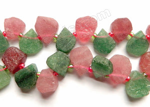 Green &. Ruby Quartz Natural A  -  Irregular Top Drilled Flat Briolette  16""