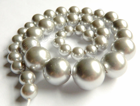 MOP Shell Pearl  -  Grey -  Graduated Smooth Round Beads 16""