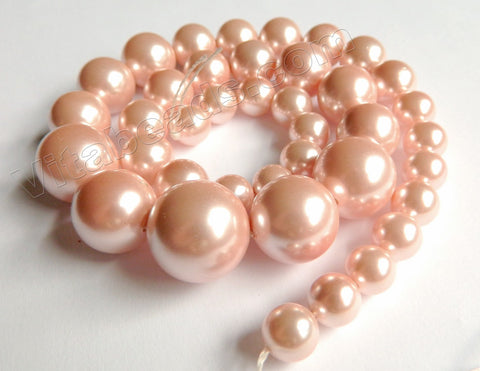 MOP Shell Pearl  -  Peach  -  Graduated Smooth Round Beads 16""