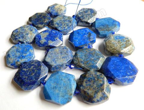 Lapis Lazuli Natural A  -  Center Drilled Faceted Rectangles w/ Spacer  16""