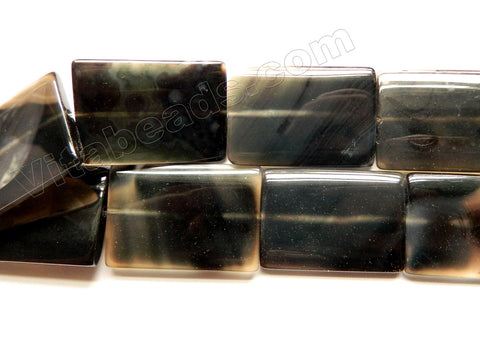 Black Agate  -  Big Puff Thin Tubes  16""
